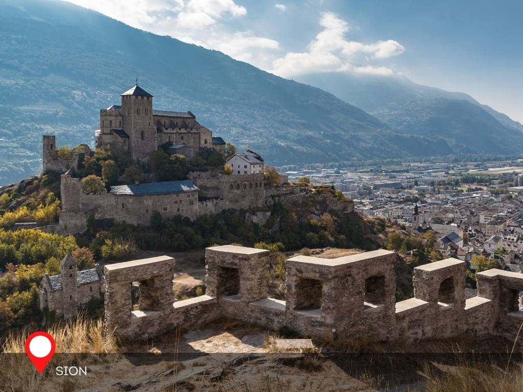 View of Valere Basilica From Tourbillon Castle, Sion, Valais, Switzerland